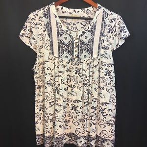 Lucky Brand Women's Size 2X Peasant Boho Floral